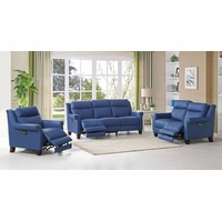 Dolce TopGrain Leather 3-pc Sofa Set w/ Power Recline, Headrest & Lumbar in Blue