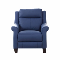 Dolce Top-Grain Leather Chair with Power Recline, Headrest & Lumbar in Blue