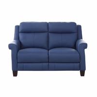 Dolce Top-Grain Leather Loveseat with Power Recline, Headrest & Lumbar in Blue
