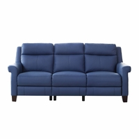 Dolce Top-Grain Leather Sofa with Power Recline, Headrest & Lumbar in Blue