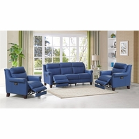 Dolce Real Leather Sofa & Two Chairs w/ Power Recline, Headrest & Lumbar in Blue