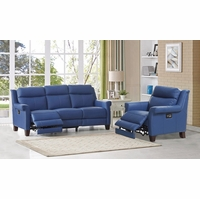 Dolce TopGrain Leather Sofa & Chair w/ Power Recline, Headrest & Lumbar in Blue