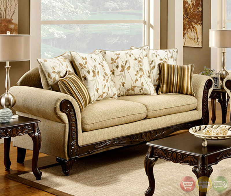 Doncaster Traditional Desert Sand Living Room Set with Pillows SM7435