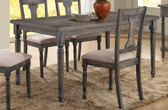 """Donnan Country Style 5-pc 59"""" Dining Set in Weathered Blue Washed Oak Finish"""