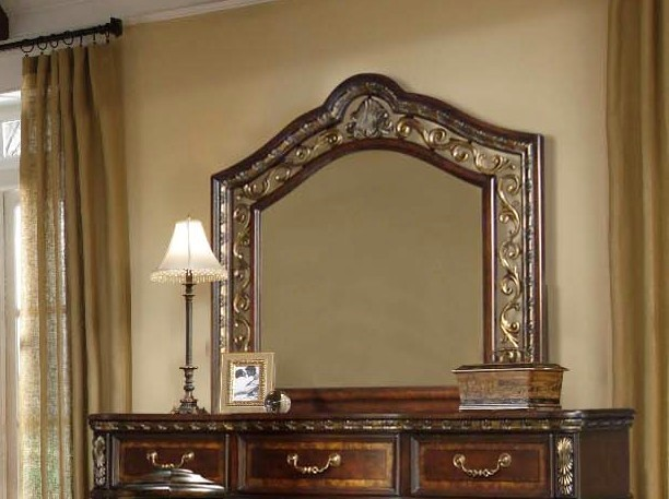 Dorada Traditional Mirror In Two-tone Wood Finish & Antique Brass