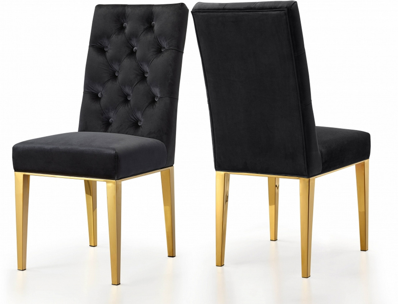 Details About Set Of 2 Dorian Plush Black Button Tufted Velvet Dining Chair W Tapered Gold Ste