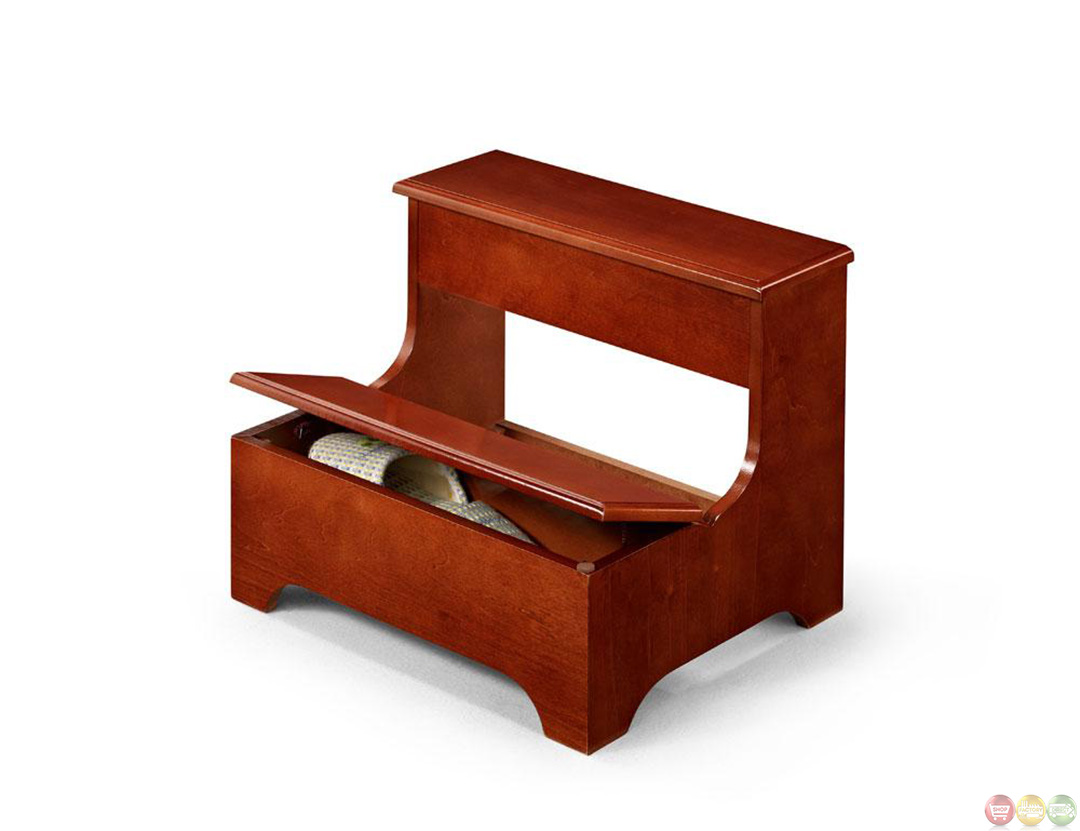 double step traditional cherry storage step stool. Black Bedroom Furniture Sets. Home Design Ideas