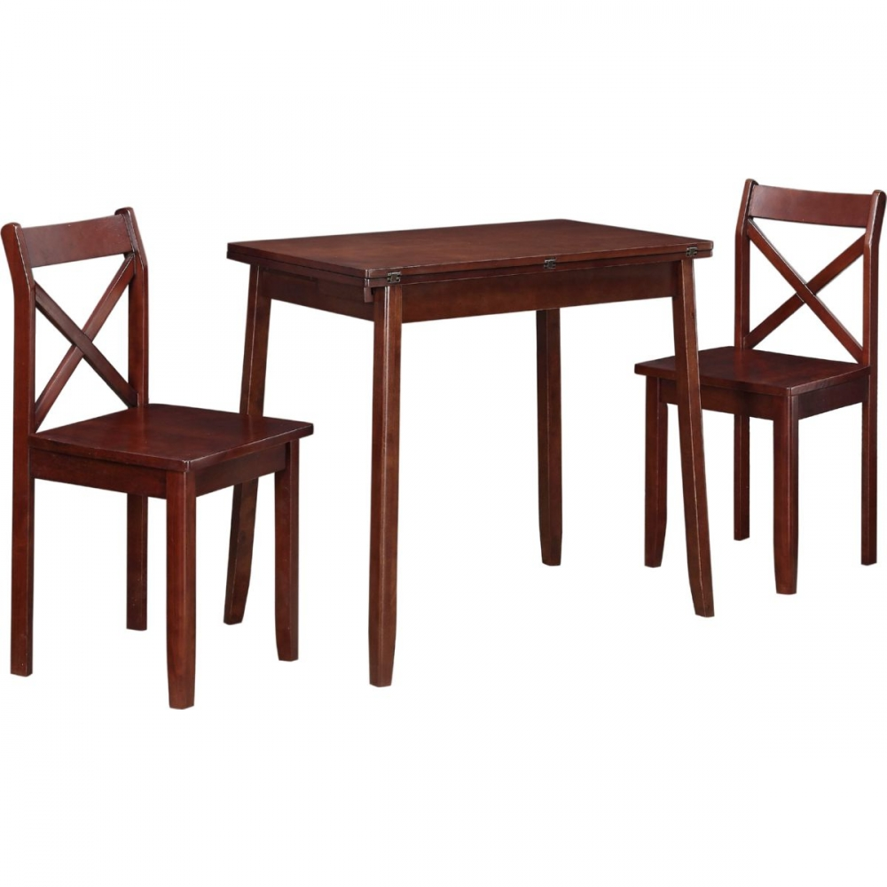 Dover three piece casual expandable dining set with walnut for Small casual dining sets