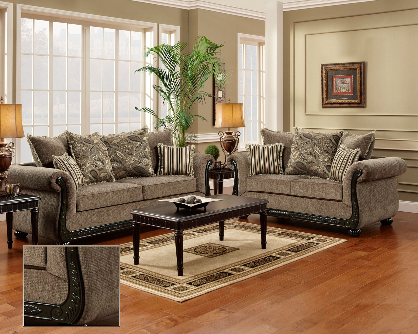 Dream java chenille sofa love seat living room furniture for Sitting room sofa set