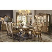 "Dresden 5pc 76""-108"" Double Pedestal Dining Table Set In Gold Patina Carved Wood"