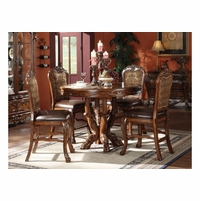 "Dresden 5pc Antique Style 48"" Wood Counter Height Dining Set In Cherry Oak"