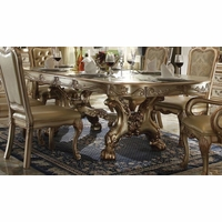 "Dresden 76""-108"" Double Pedestal Dining Table In Gold Patina Carved Wood"