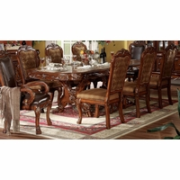 """Dresden Antique Style 76""""-108"""" Double Pedestal Dining Table in Cherry Oak Finish"""