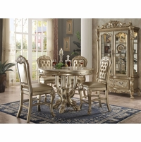 "Dresden Carved Wood 5pc 48"" Counter Height Dining Table Set In Gold Patina"
