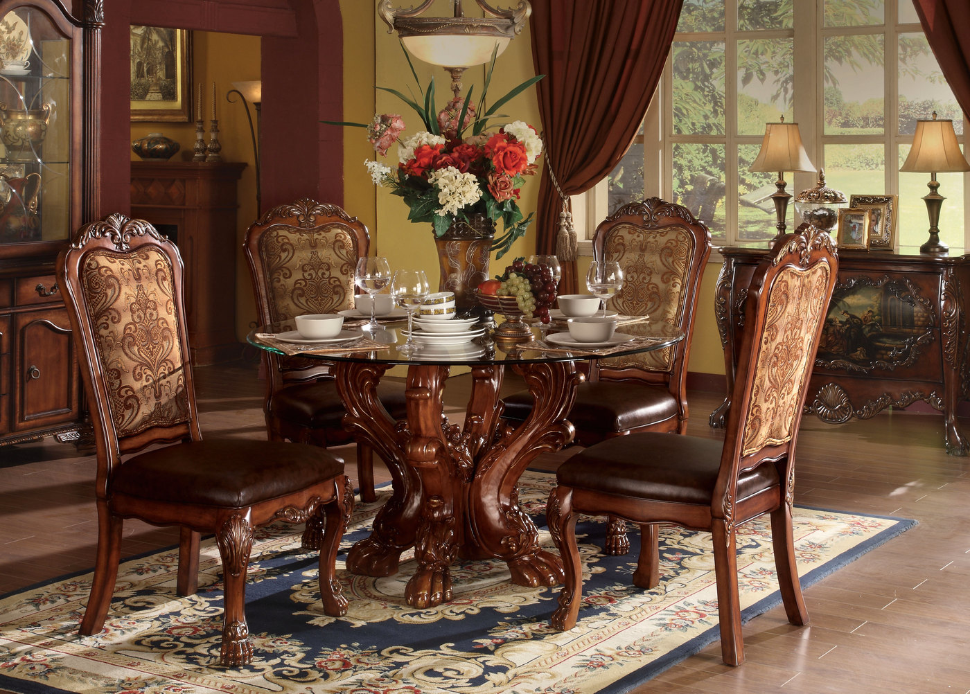 "Dresden Carved Wood 5pc 54"" Round Glass Top Dining Table ..."