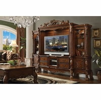 Dresden Carved Wood 68� TV Entertainment Wall Unit In Antique Cherry Oak