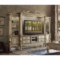"""Dresden Carved Wood 68"""" TV Entertainment Wall Unit, Antique Gold Patina"""
