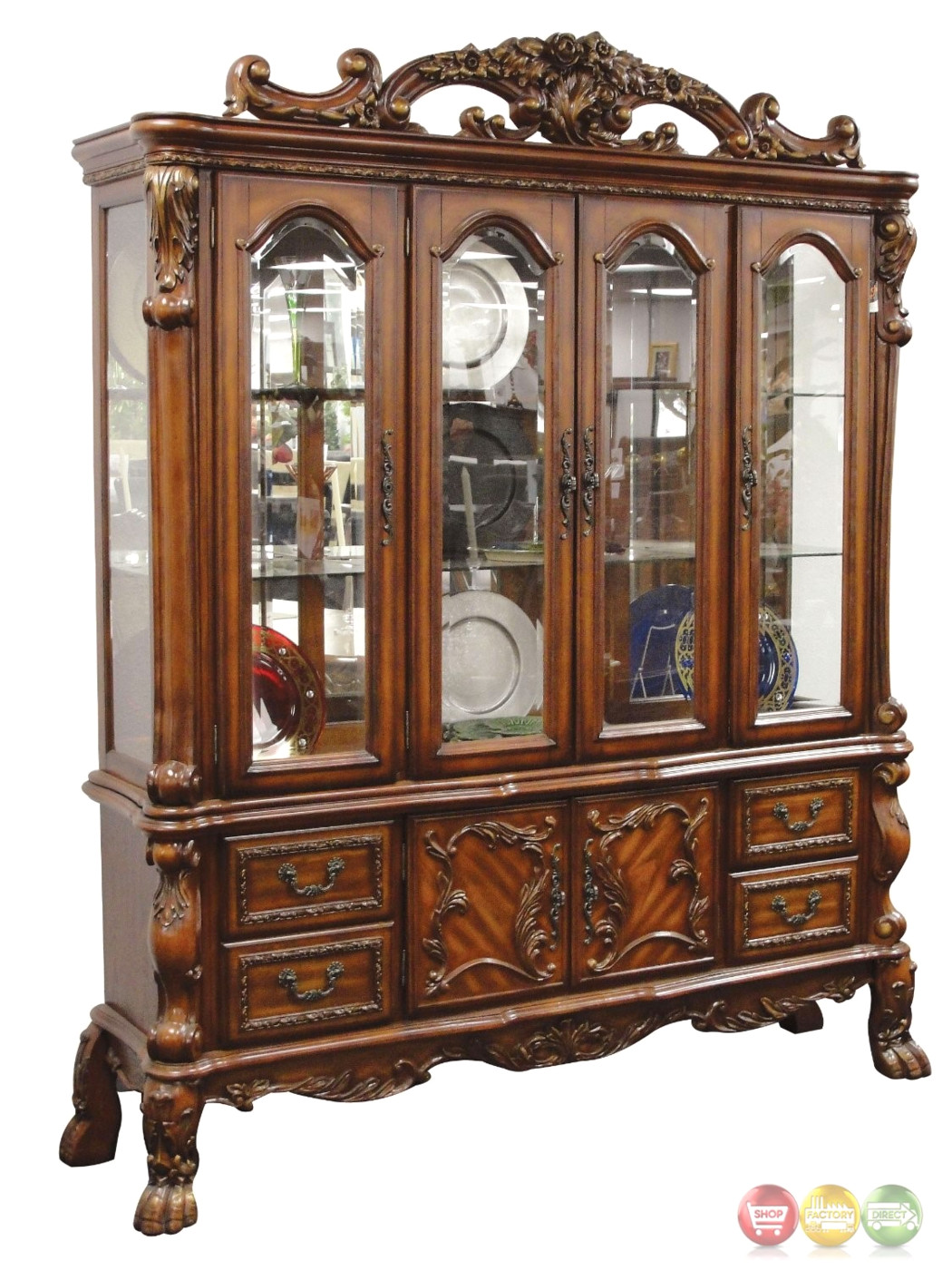 Wooden China Hutch ~ Dresden carved wood antique style lighted china cabinet in