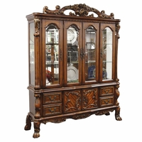 Dresden Carved Wood Antique Style Lighted China Cabinet In Cherry Oak