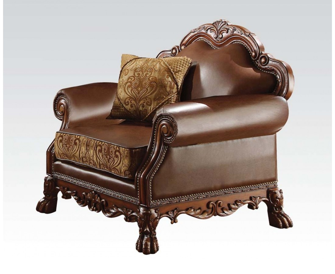 Dresden Formal Brown Faux Leather Amp Gold Fabric Chair In