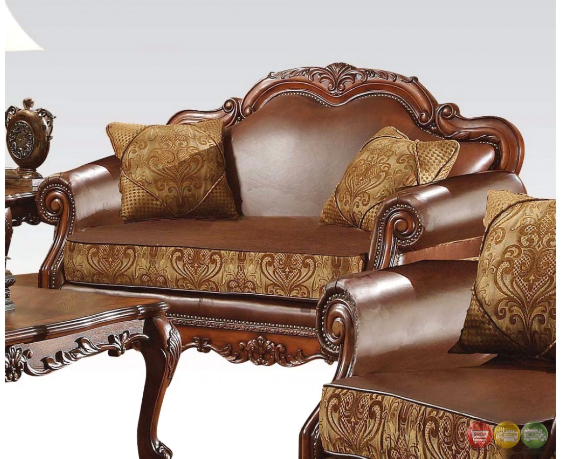 Dresden Formal Brown Leather Gold Fabric Sofa Loveseat In Cherry Oak