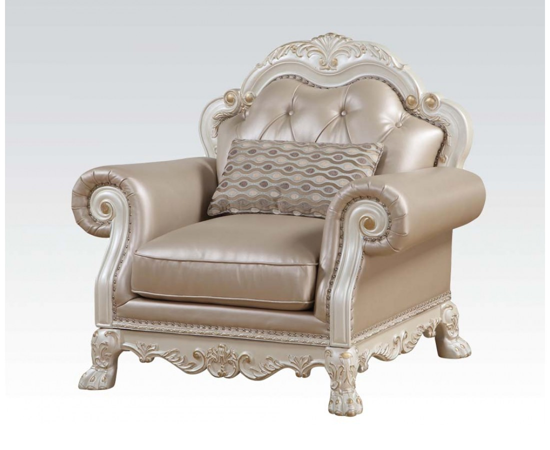 Dresden Formal Button Tufted Chair In Antique Pearl White