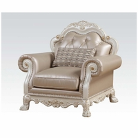 Dresden Formal Button Tufted Chair In Antique Pearl White & Gold