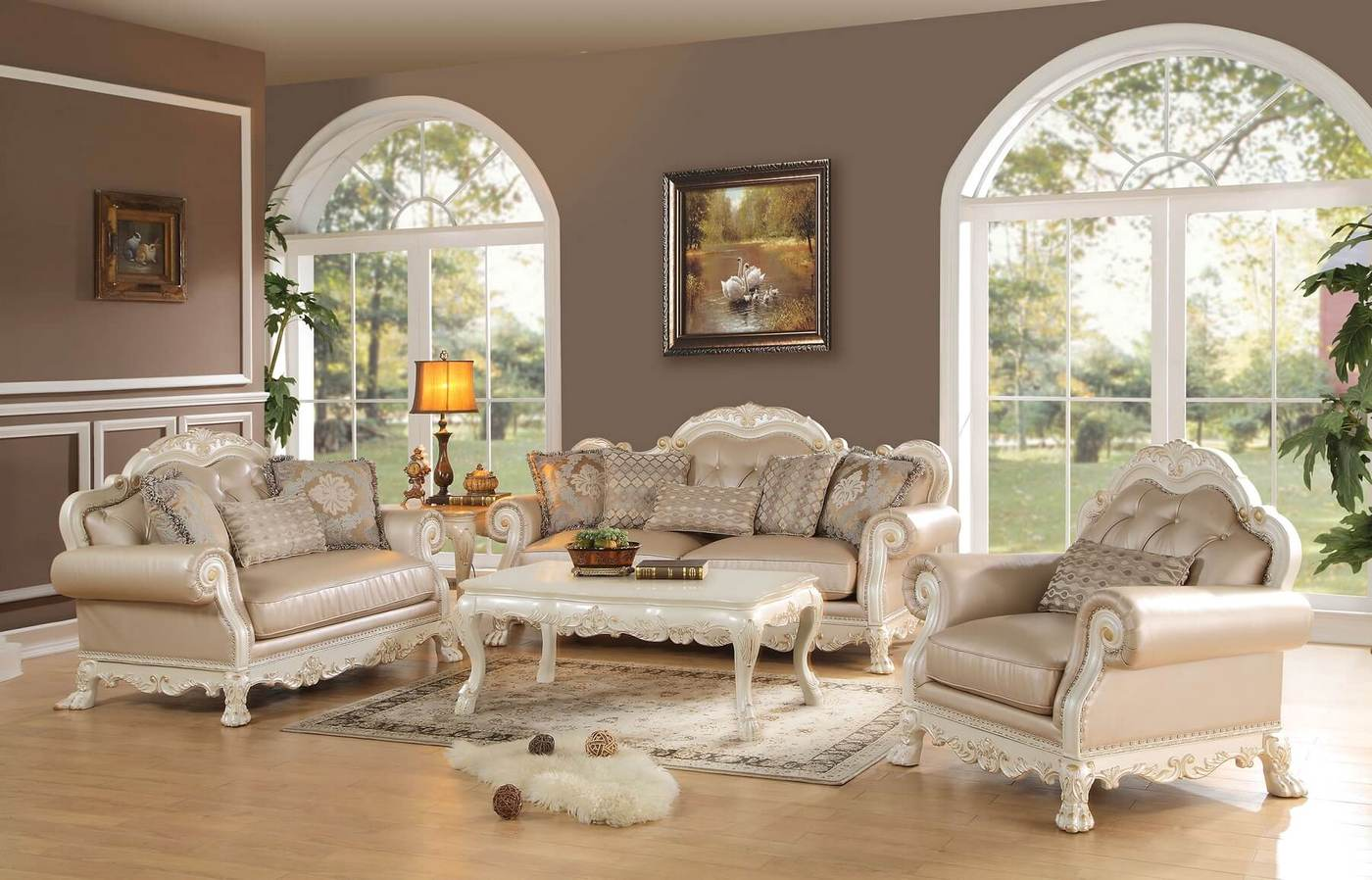 Dresden Formal Button Tufted Sofa & Loveseat In Antique