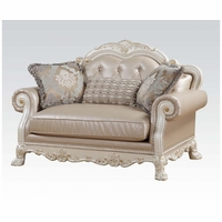 Dresden Formal Button Tufted Loveseat In Antique Pearl White & Gold