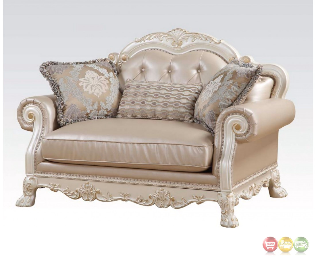 Dresden Formal Button Tufted Sofa Loveseat In Antique Pearl White Gold