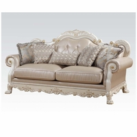 Dresden Formal Button Tufted Sofa In Antique Pearl White & Gold