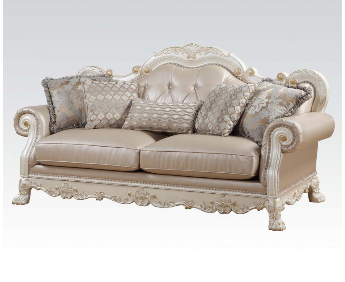Dresden formal button tufted sofa loveseat in antique for Couch and loveseat