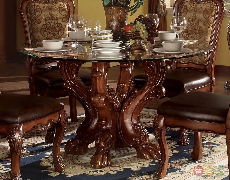Dresden formal carved wood 54 round glass top dining for Best wood for dining table