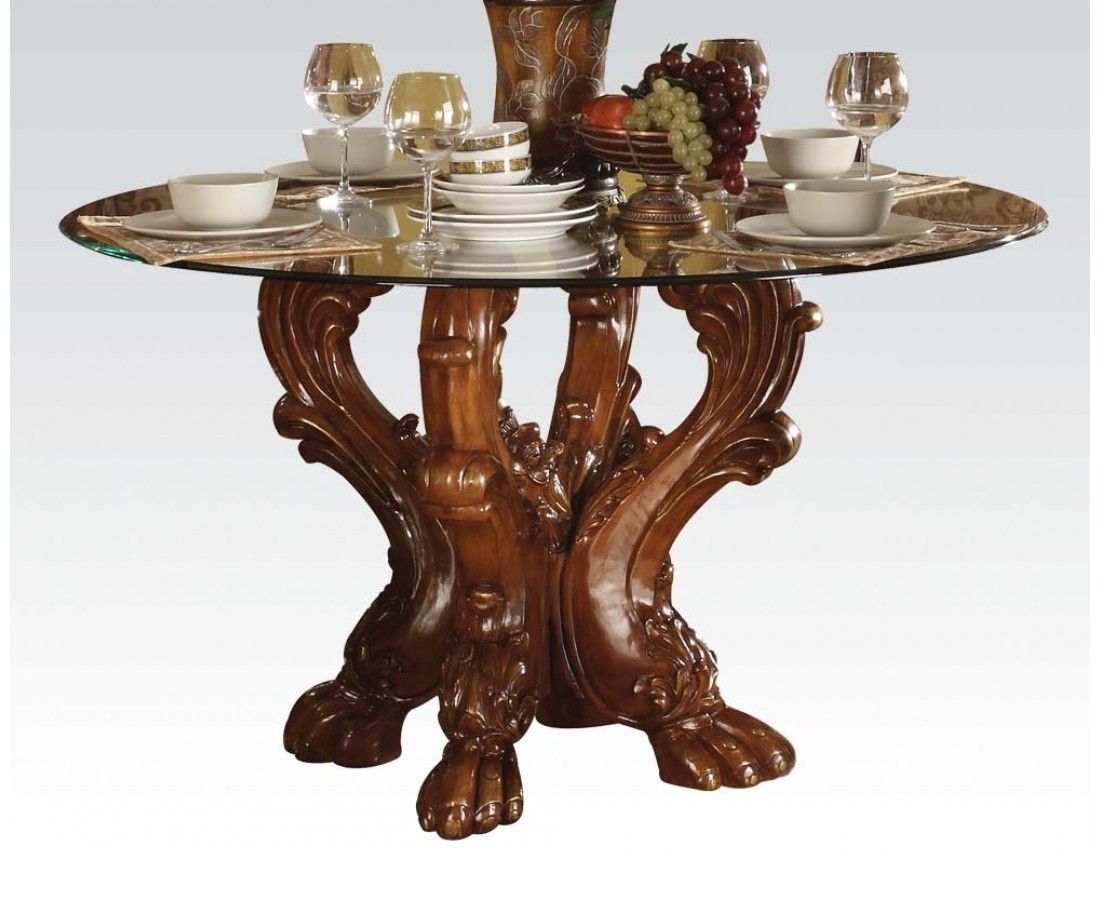 dresden formal carved wood 54 round glass top dining table in cherry oak. Black Bedroom Furniture Sets. Home Design Ideas