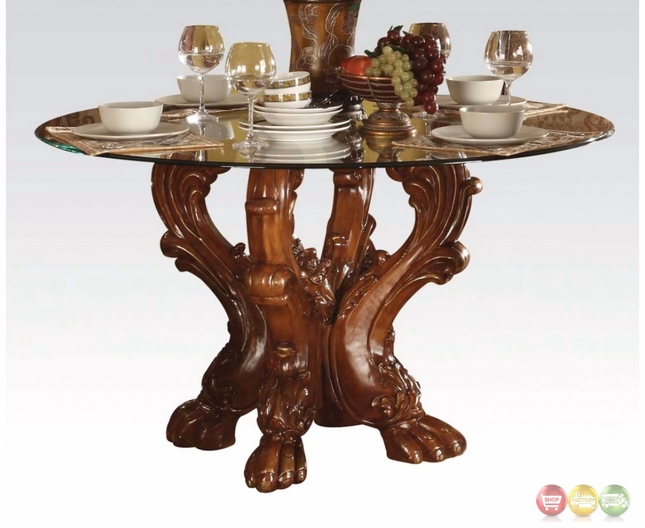 """Dresden Formal Carved Wood 54"""" Round Glass Top Dining"""