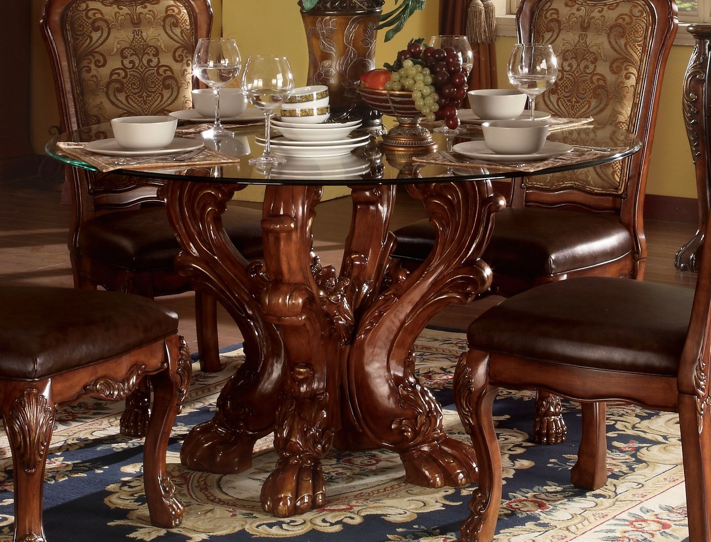 """Dining Wood Table: Dresden Formal Carved Wood 54"""" Round Glass Top Dining"""