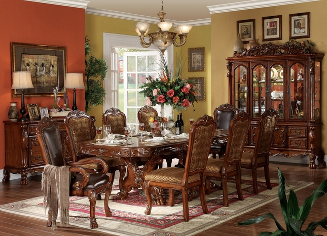 Dresden Formal Dining Collection Carved Wood Double Pedestal Table