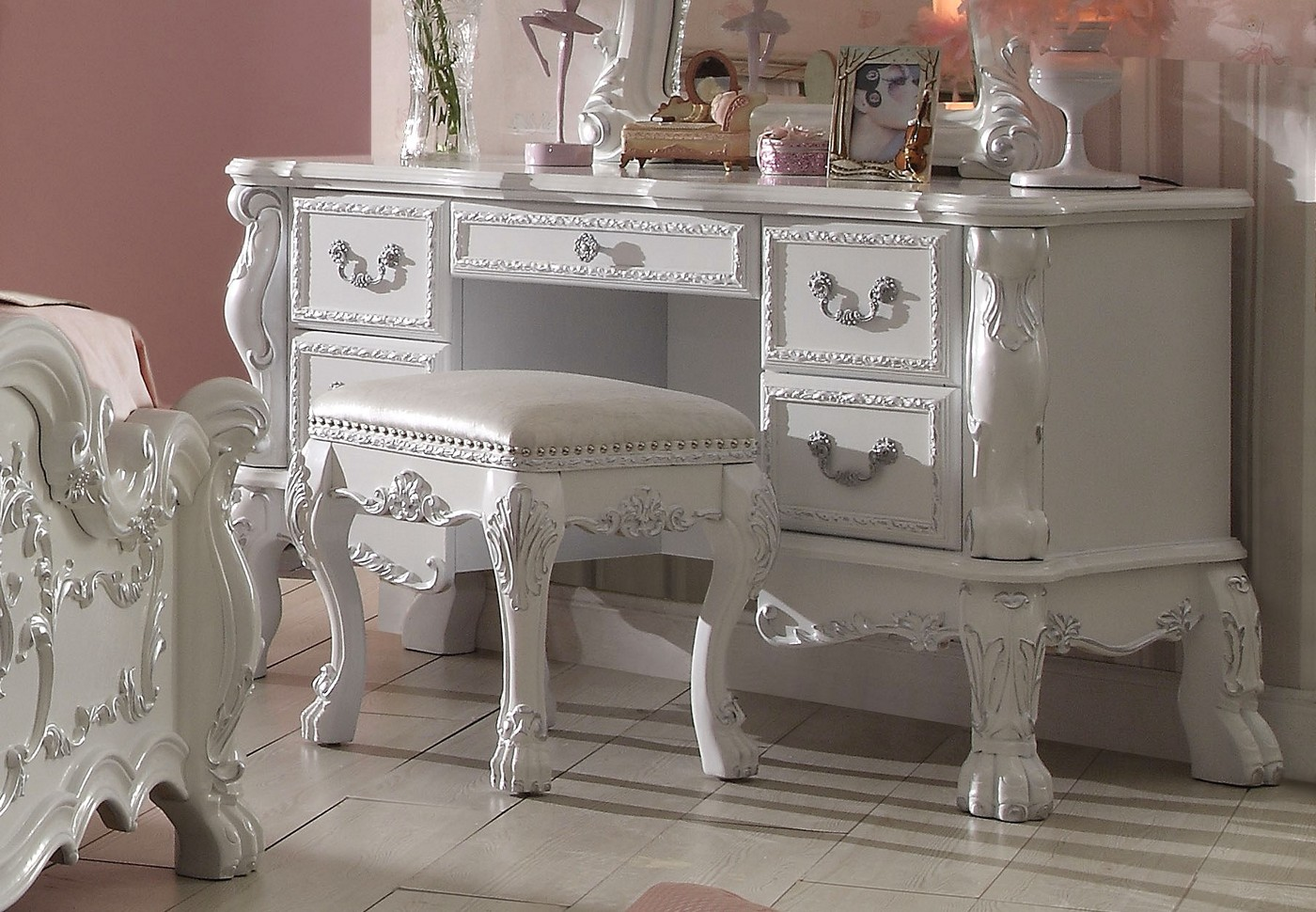 Dresden Kids Traditional Antique White Ornate Scrolled 5