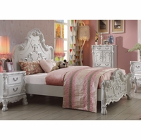 Dresden Kids Traditional Ornate Scrolled Queen Panel Bed in Antique White