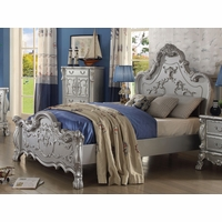 Dresden Kids Traditional Ornate Scrolled Queen Panel Bed in Silver Finish