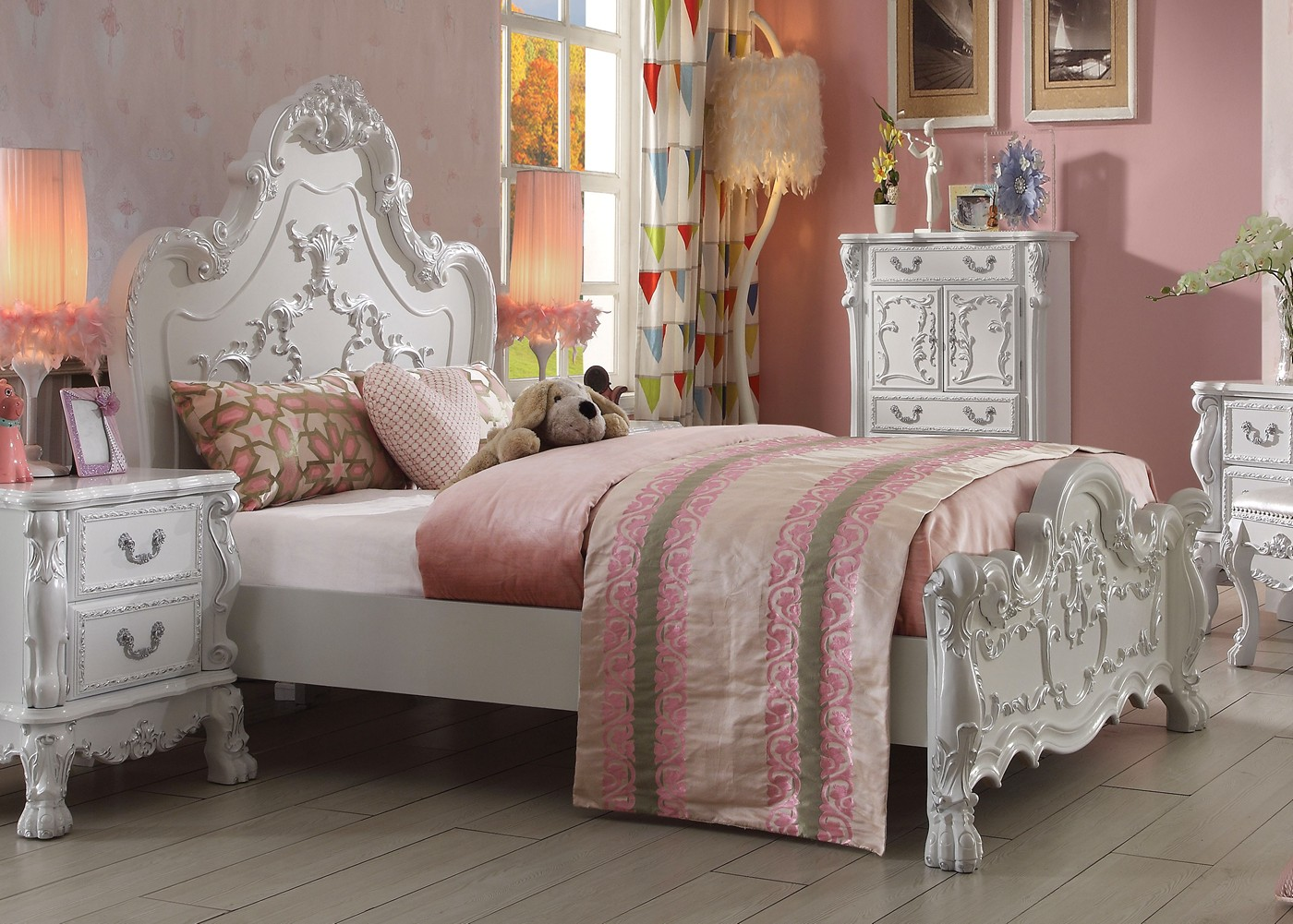 dresden kids traditional ornate scrolled queen panel bed