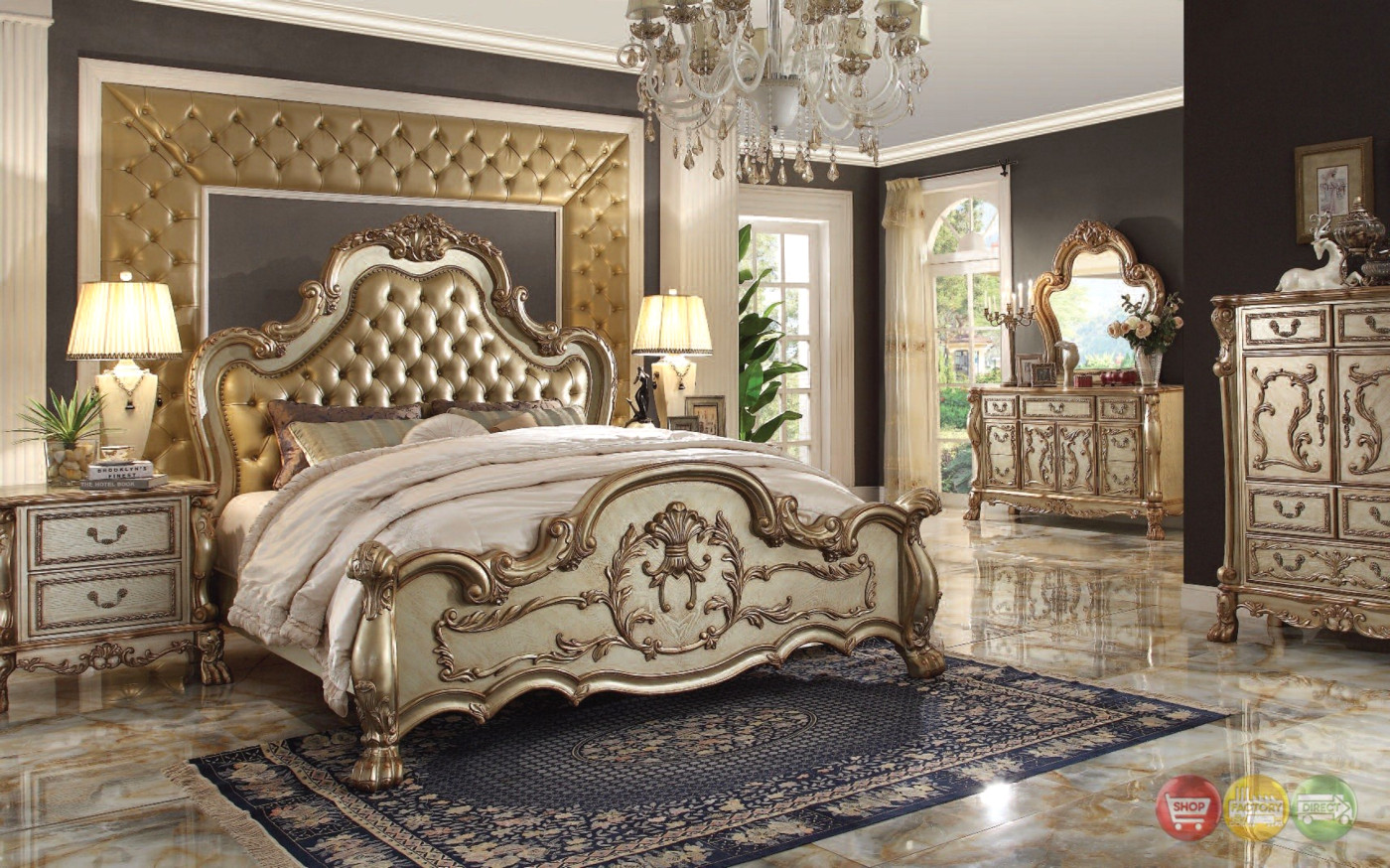Dresden Luxury Upholstered 4pc King Bedroom Set In Antique Gold Patina