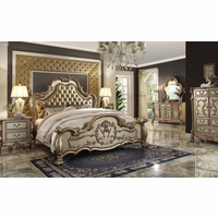 Dresden Luxury Upholstered 4pc Queen Bedroom Set In Antique Gold Patina