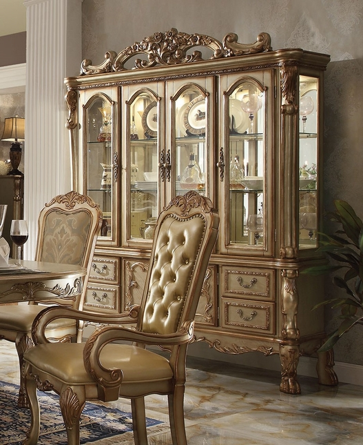 Luxury Ornate Formal China Cabinet In Antique Gold Patina
