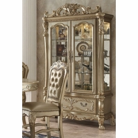 Dresden Luxury Ornate Formal Curio Cabinet In Antique Gold Patina