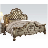 Dresden Luxury Ornate Upholstered Queen Bed In Antique Gold Patina