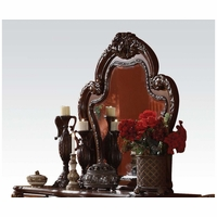Dresden Ornate Antique Style Carved Beveled Mirror In Light Brown Cherry Oak