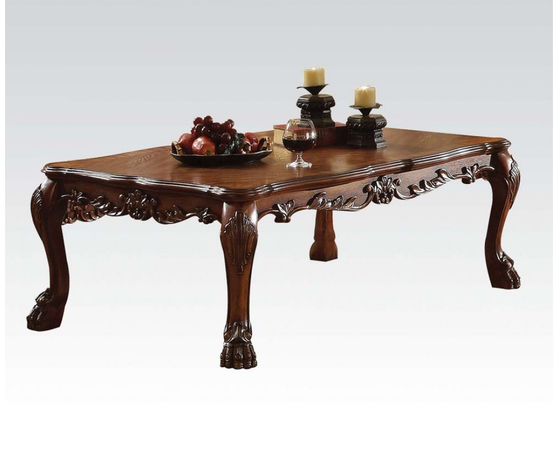 dresden ornate antique style wood top coffee table in cherry oak. Black Bedroom Furniture Sets. Home Design Ideas
