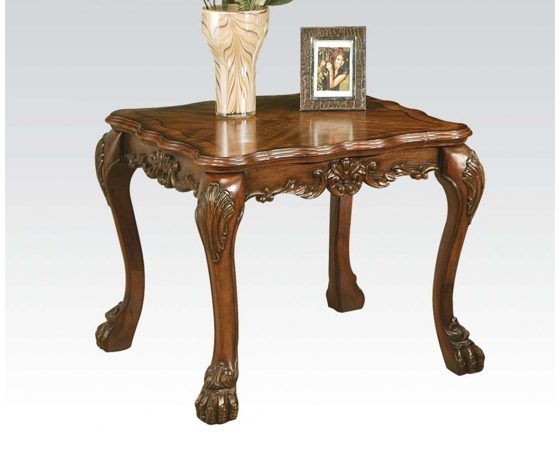Antique End Tables Images: Dresden Ornate Antique Style Wood Top End Table In Cherry Oak