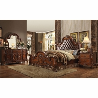 Dresden Ornate Upholstered 4pc King Bedroom Set In Traditional Cherry Oak